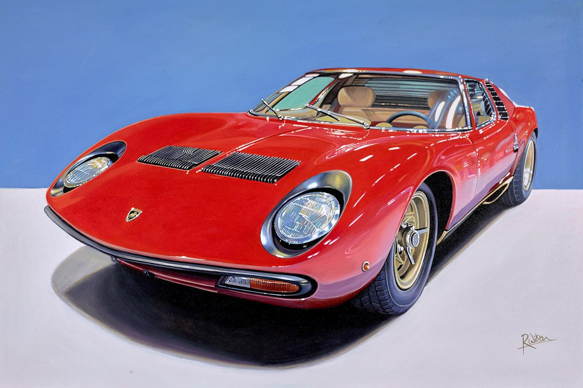 1972 Lamborghini Miura by roz wilson -  sized 36x24 inches. Available from Whitewall Galleries